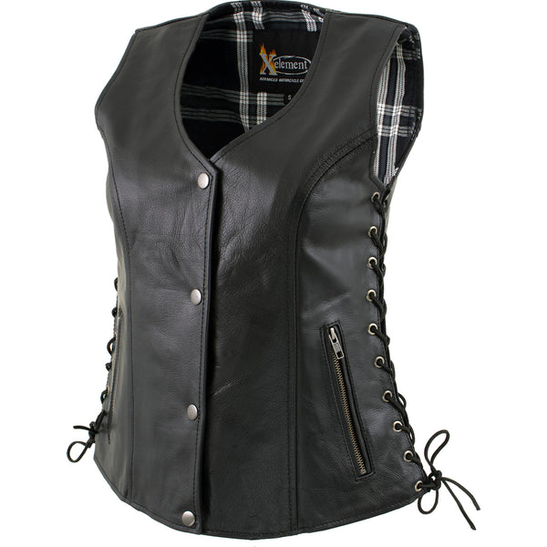 Xelement XS4505 Ladies 'Flannel' Black Leather Vest with Snap Button Closure