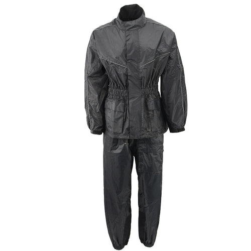 NexGen Ladies XS5001 Black Water Proof Rain Suit with Reflective Piping