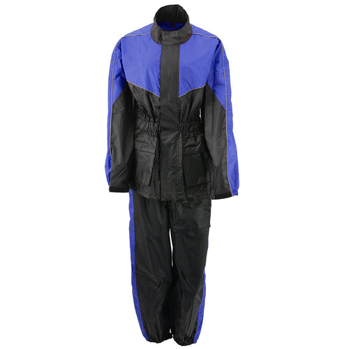 NexGen Ladies XS5001 Black and Blue Water Proof Rain Suit with Reflective Piping