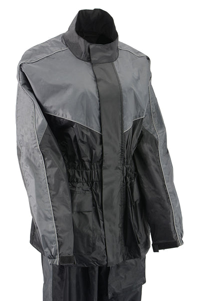 NexGen Ladies XS5001 Black and Grey Water Proof Rain Suit with Reflective Piping
