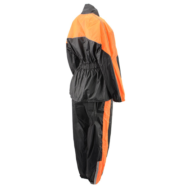 NexGen Ladies XS5001 Black and Orange Water Proof Rain Suit with Reflective Piping