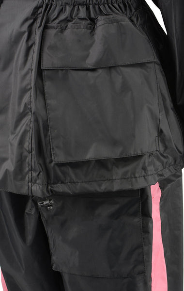NexGen Ladies XS5001 Black and Pink Water Proof Rain Suit with Reflective Piping