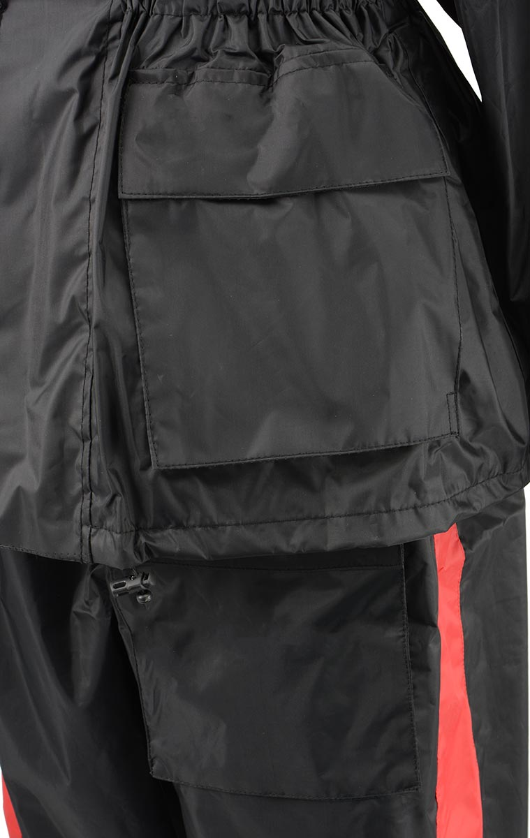 NexGen Ladies XS5001 Black and Red Water Proof Rain Suit with