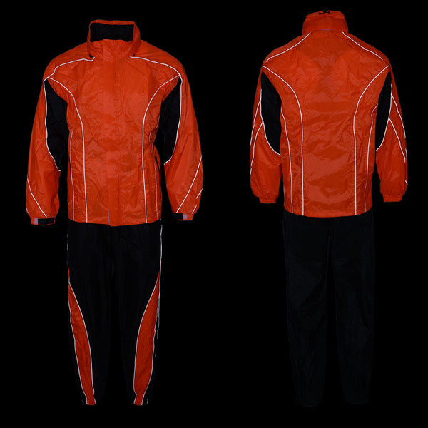 NexGen Men's XS5020 Orange and Black Hooded Hi Visibility Water Proof Rain Suit with Reflective Piping