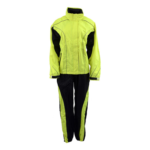 NexGen Men's XS5021 Neon Green Hi-Viz Hooded Water Proof Rain Suit