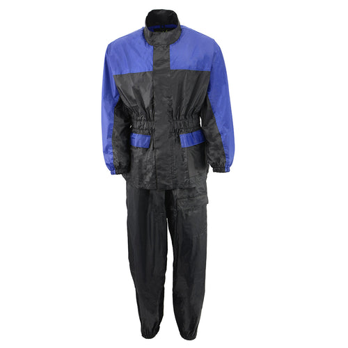 NexGen Ladies XS5031 Blue and Black Water Proof Rain Suit with Cinch Sides