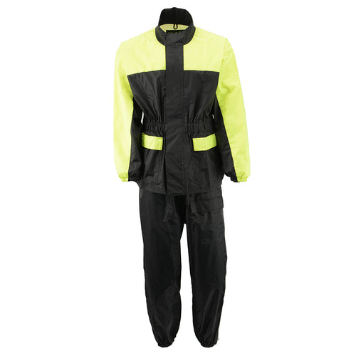 NexGen Ladies XS5031 Yellow and Black Hi-Viz Water Proof Rain Suit with Cinch Sides