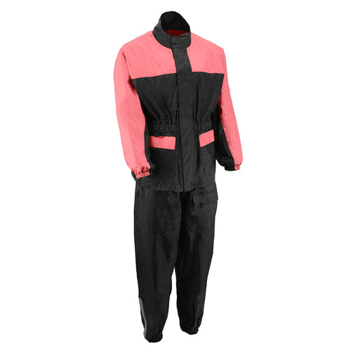 NexGen Ladies XS5031 Pink and Black Water Proof Rain Suit with Cinch Sides