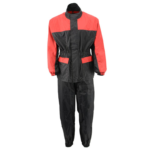 NexGen Ladies XS5031 Red and Black Water Proof Rain Suit with Cinch Sides