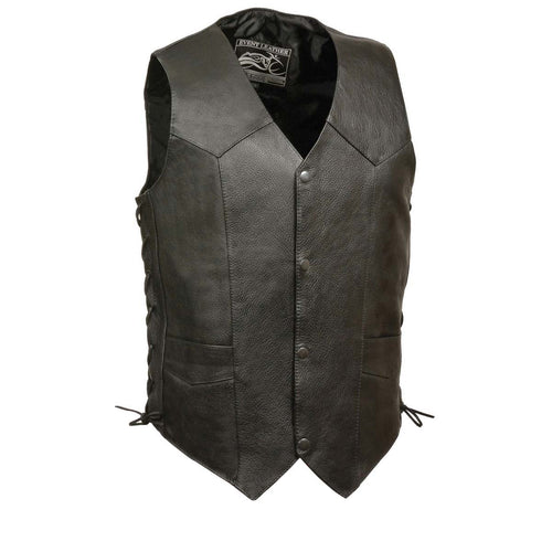 Event Leather XS5315 Men's Black Classic Side Lace Leather Vest
