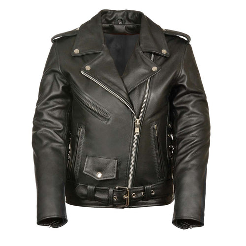 Ladies XS603 Classic Black Motorcycle Leather Jacket