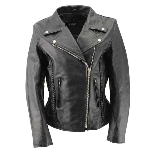 Ladies XS657 Black Classic Braided Motorcycle Leather Jacket