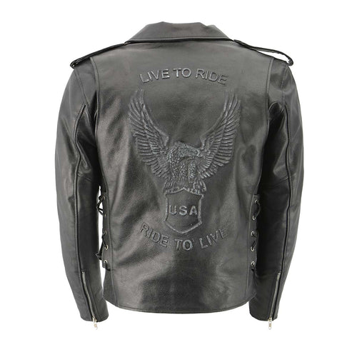 Men's XS703 Black Embossed 'Live to Ride, Ride to Live' Classic Motorcycle Jacket