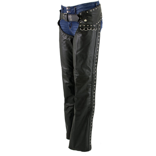 Xelement XS7590 Ladies 'Riveted' Black Classic Leather Chaps