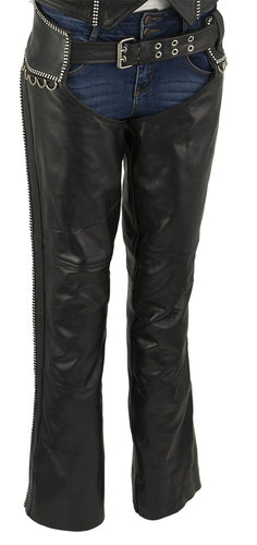 Xelement XS7591 Ladies 'Bling' Black Classic Leather Chaps