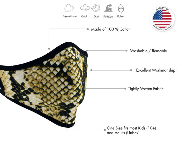 Xelement XS8004 (Multi-Pack) 'Snake Print' USA Made 100 % Cotton Protective Face Mask