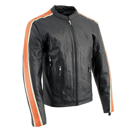 Hot Leathers XSM1007 Men's Black Motorcycle Jacket with Orange and Cream Stripes