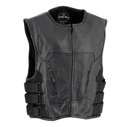 Leather King XSM1467 Men's Classic Black Leather Vest with Back Padding