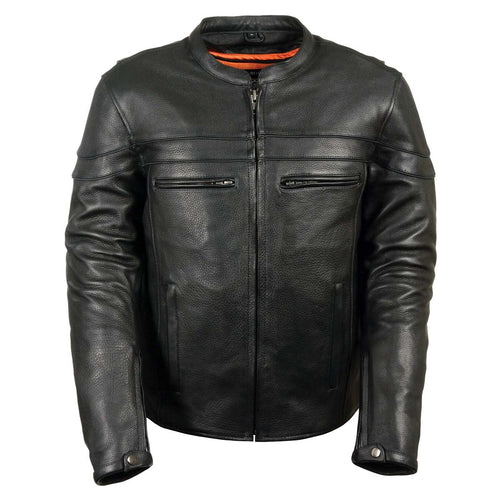 Z1R1408 Men's '45' Black Sport Vented Black Leather Moto Jacket