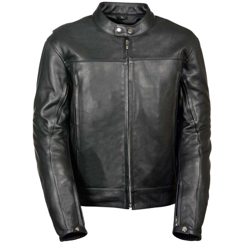 Z1R1540 Men's '357' Classic Collarless Black Leather Jacket