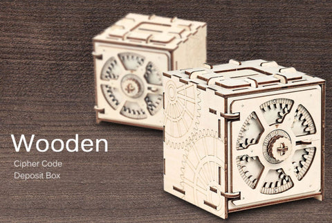Cipher Deposit Box 3D Puzzle Steampunk Wooden Mechanical Toy For Kids