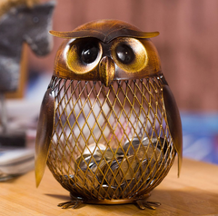 Metallic Owl Piggy Bank