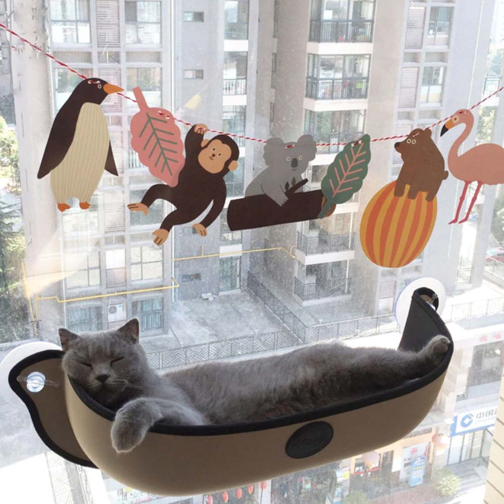 New Model Cat Window Perch Hammocks Khaki And Gray