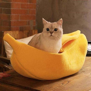 Banana Cat Bed for Pets Warm Soft Yellow Green Banana Bed