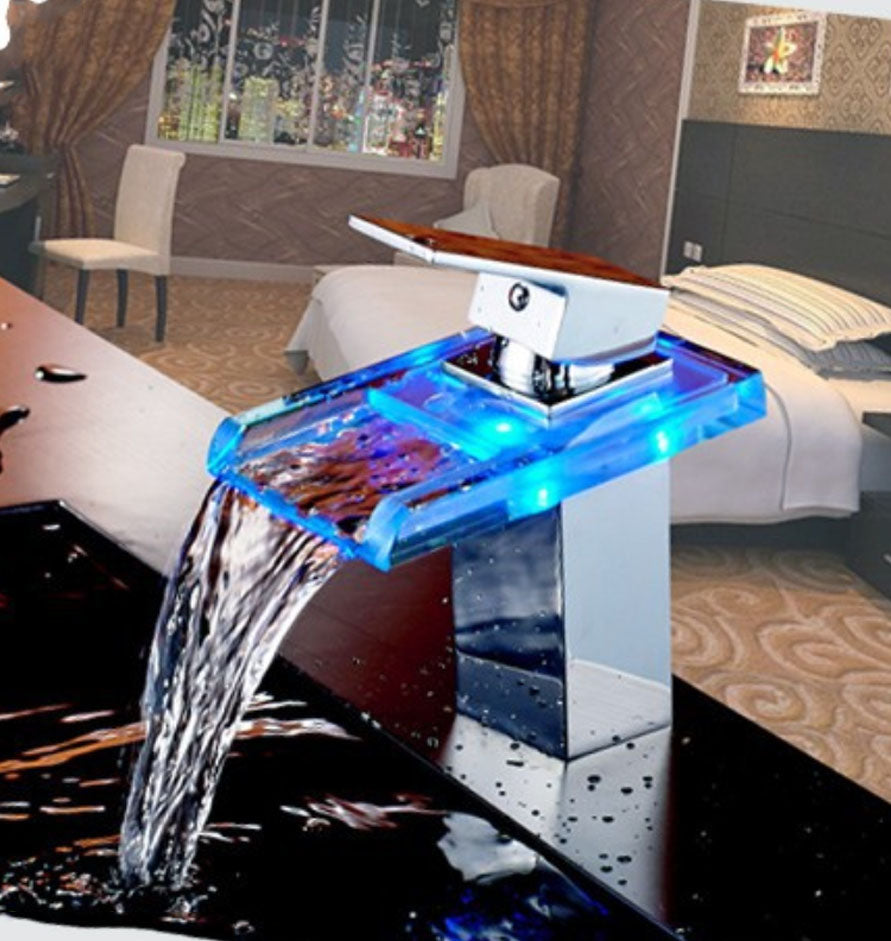 Waterfall Widespread Faucet Bathtub Sink Vessel Tub Filler For Bathroom Sink