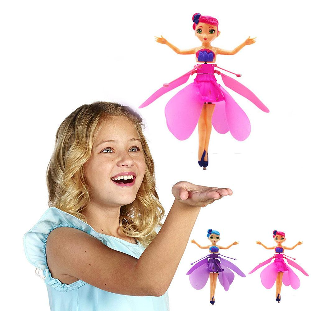 Induction Fairy Magical Princess Dolls infrared Light Suspension Flying doll toys mini RC drone Girl Children's Gift Figure Toys