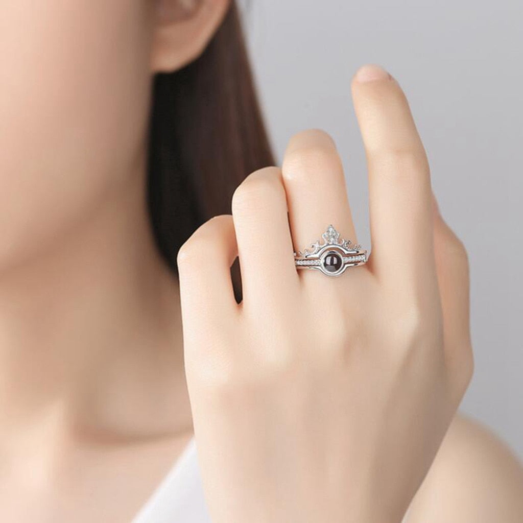 Fashion Simple 100 Languages I Love You Romantic Gift Ring Two In One Crystal Ladies Jewelry Bagues Pour Femme Rings For Women