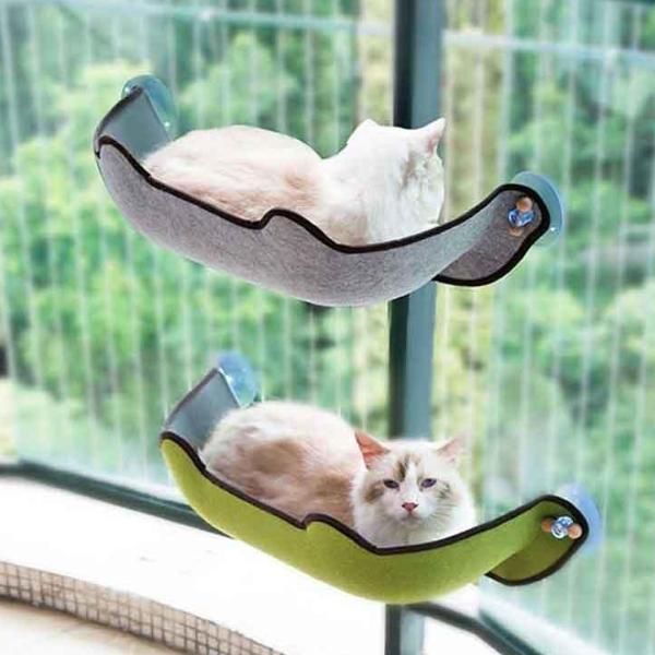 Cat Hammock Bed Window Perch Mount Curvy Design