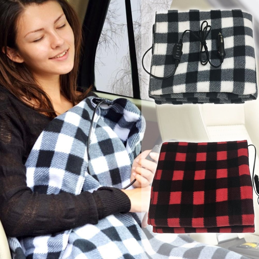 Electric Heated Car Blanket 12v Volt Winter Travel Vehicle Blanket