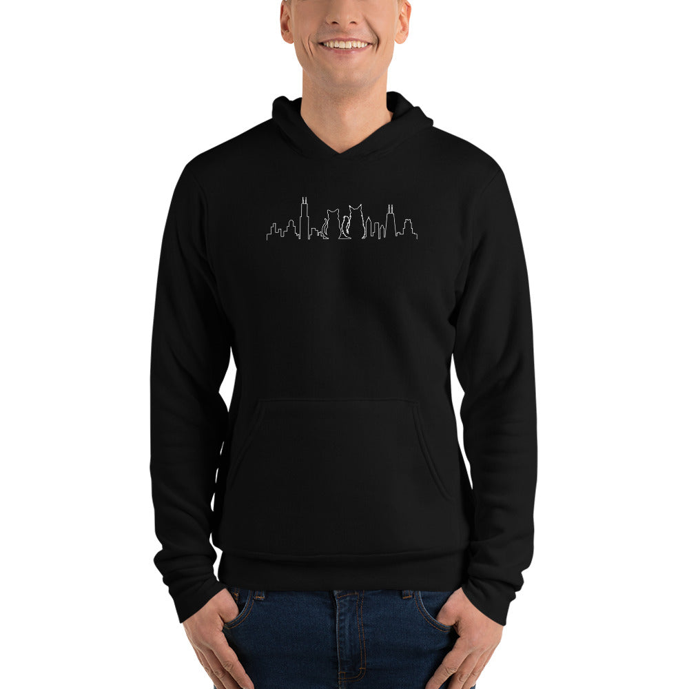 Chicago Black Cat WHITE Skyline | Unisex Hoodie