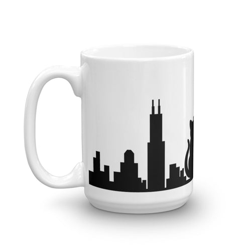 Chicago Black Cat Skyline Solid Mug | 15oz