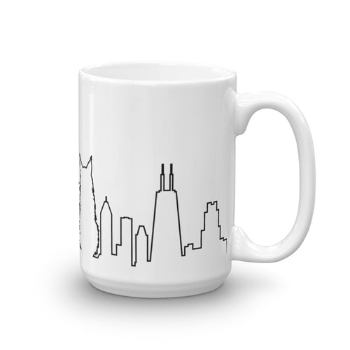 Chicago Black Cat Skyline Outline Mug | 15oz