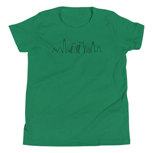 Chicago Black Cat Skyline Outline | Youth T-Shirt