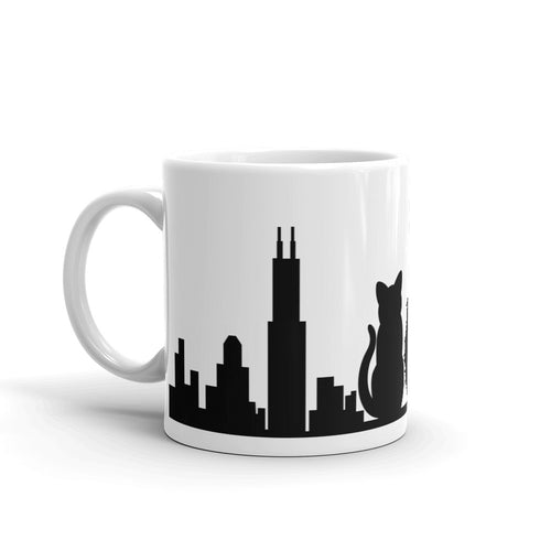 Chicago Black Cat Skyline Solid Mug | 11oz
