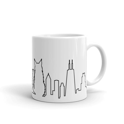 Chicago Black Cat Skyline Outline Mug | 11oz