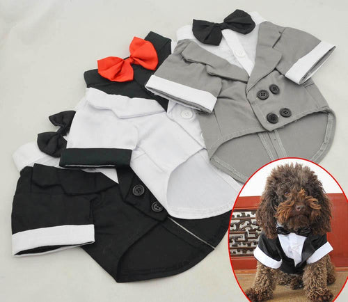 2018 New Puppy Shirt Dog Wedding Tux Western Suit with Bow Tie Clothing Free Shipping