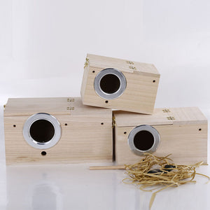Popular Shellhard Bird Wooden Nest Box Pet Parrot Budgies ParakeetNesting Boxes Bird Supplies
