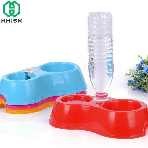 WHISM Dual Bowls Automatic Water Double Bottles Dogs Cat Bowl Pet Food Water Drinker Dispenser Bowls Pet Supplies