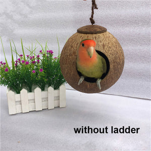 WHISM Pet Parrot Nest Coconut Bird Cage Hamster House Macaw Breeding Nests with/without Ladder Chew Toys Cockatiel Supplies
