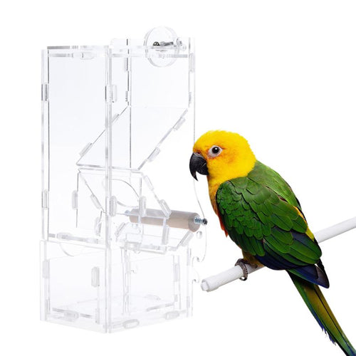 Acrylic Bird Parrot Feeder Transparent Automatic Food Container.
