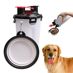 Travel 2 in 1 Pet Food/Water Bottle with Bowl Dual Chambered Storage Container with Collapsible Pet Cup