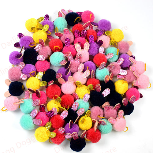 50X/100X Cute Puppy Dog /Cat Hair Bows with Rabbit Ears Pompom Accessories