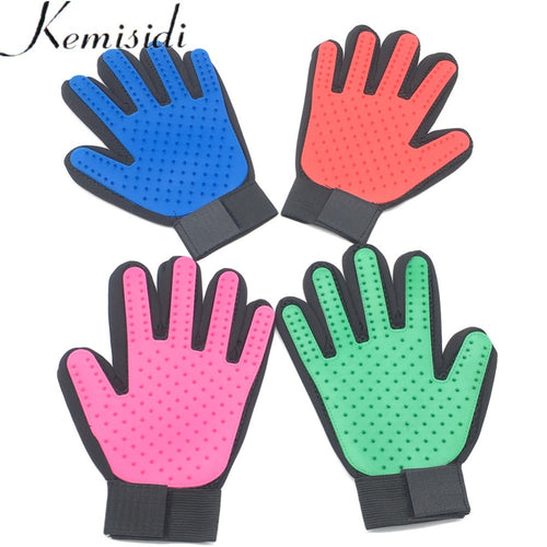 KEMISIDI Deshedding Brush Glove for Animal Cat Supplies Pet Gloves Hair Comb Five Finger Glove For Cat Grooming Cat Pet Clean