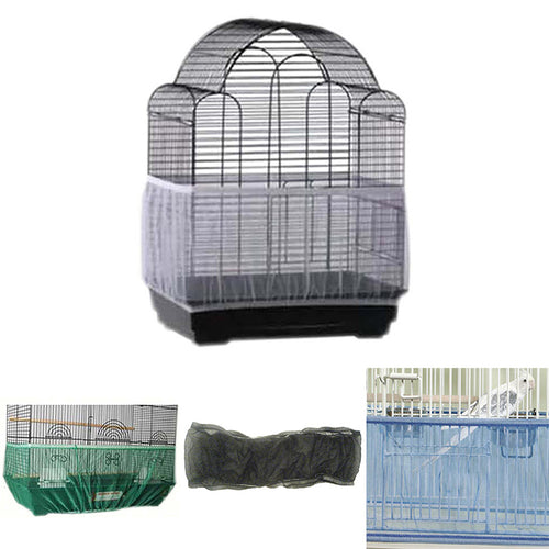 Soft Nylon Mesh Ventilated Bird Cage Easy Cleaning Dust-proof Cover Shell Pet Products Skirt Seed Catcher Guard Bird Supplies