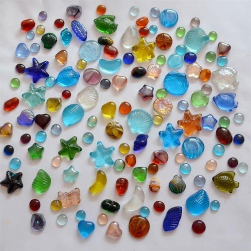 200g Pack Colorful Combo Pebbles Stones Glass Nugget Marbles Fish Tank Decor.