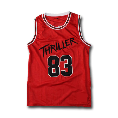 Michael Jackson #83 Thriller Red Stitched Basketball Jersey